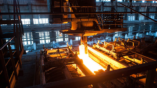Steel being formed at a foundry