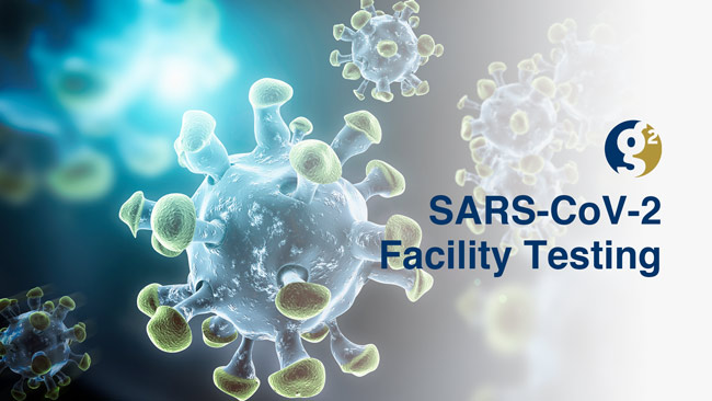 G2 SARS-CoV-2 Facility testing text on the right side over graphic representation of virus